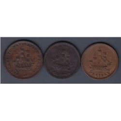 NOVA SCOTIA MERCHANT TOKENS - A trio: Co. 351, 352, 354.