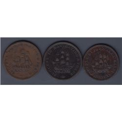 NOVA SCOTIA MERCHANT TOKENS - A trio of halfpennies: Co. 345, Co. 354, Co. 355.