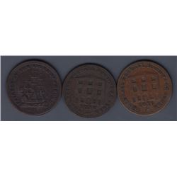 NOVA SCOTIA MERCHANT TOKENS - Group of three merchant tokens