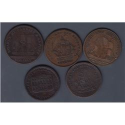 NOVA SCOTIA MERCHANT TOKENS - Group of five merchant tokens.