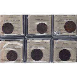 NOVA SCOTIA MERCHANT TOKENS - Six ICCS graded pieces