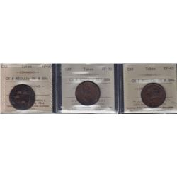 NOVA SCOTIA MERCHANT TOKENS - Three ICCS graded merchant tokens.