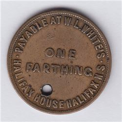 NOVA SCOTIA MERCHANT TOKENS - Co. 363. Br 899. Rare White's Farthing with D below C.
