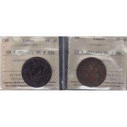 NOVA SCOTIA MERCHANT TOKENS - A Pair of Co. 3 NL. Br 894. in brass and copper.