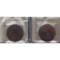 TOKENS OF UPPER CANADA - Br 719.  A pair of 1857 AU pennies.