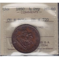 TOKENS OF UPPER CANADA - Br 720.  Uncirculated 1850 halfpenny.