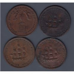 TOKENS OF UPPER CANADA - Group of four Brock tokens.