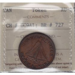 "TOKENS OF UPPER CANADA - Br 727. McL 12. ""1820"" anvil and shovels sloop."