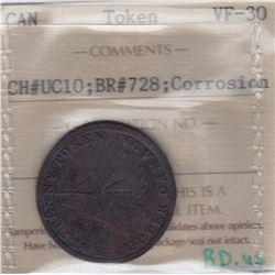 TOKENS OF UPPER CANADA - Br 728. McL. 17.  Upper Canada cask.