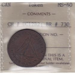 "TOKENS OF UPPER CANADA - Br 730. McL. 23.  ""1833"" sloop."