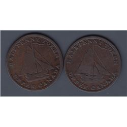 "TOKENS OF UPPER CANADA - Br 730. McL 19. ""1823"" sloop."