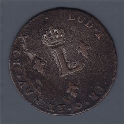 Br. 508. Billon Double Sol of 24 Deniers. 1742 K. (Bordeaux).