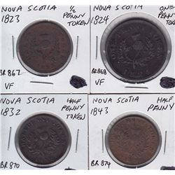 Nova Scotia Breton Tokens Lot of 4