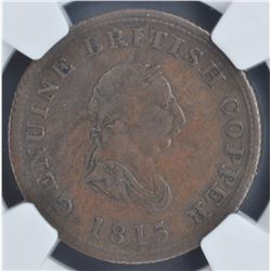 Nova Scotia ½ penny token, 1815
