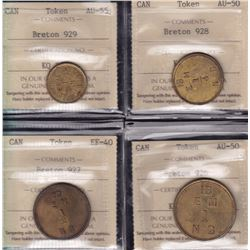 Fur Trade Tokens - Complete set of Hudson Bay Tokens - ICCS Graded Lot of 4