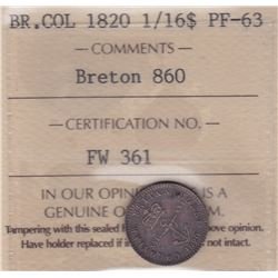 Br 860. British West Indies Colonial 1/16 Dollar, 1820.