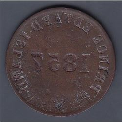 Br 919. Reverse brockage of Prince Edward cent, 1857.