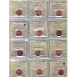 Lot of 22 ICCS Graded Red One Cents