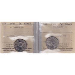 1984 & 1986 Five Cents ICCS Graded MS-65