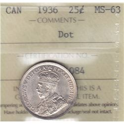 1936 Twenty Five Cents - Dot