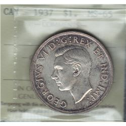 1937 Silver Dollar. ICCS MS-65.