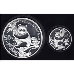 China 2-Coin Proof Panda Set 10 & 50 YUAN, 1987