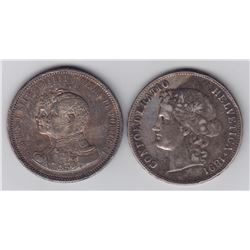 Portugal 1000 Reis, 1898 & Switzerland 5 Francs, 1891