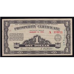 Alberta Prosperity Certificate $1, 1936