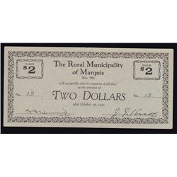 Rural Municipality of Marquis $2, Saskatchewan #191 Municipal Indebtedness Depression Scrip