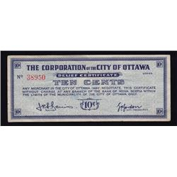 City of Ottawa 10 Cents Depression Scrip