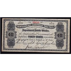 Newfoundland Government Cash Note 40 Cents, 1908