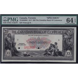 Canadian Bank of Commerce $20, 1917 - Specimen