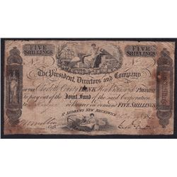 Charlotte County Bank. St. Andrews, New Brunswick. Five Shillings, 26 Aug. 1856