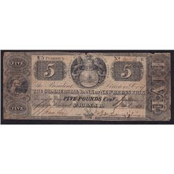Commercial Bank of New Brunswick Five Pounds, 1853