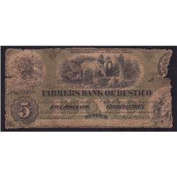 Farmers Bank of Rustico $5, 1872