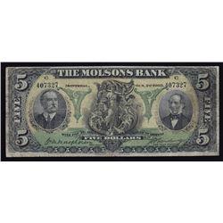 Molsons Bank $5, 1905