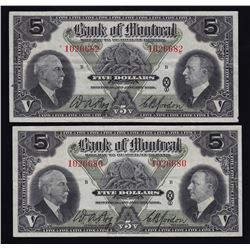 Bank of Montreal $5, 1935 - Lot of 2