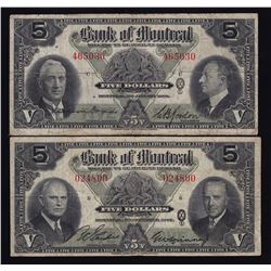 Bank of Montreal $5, 1938 & 1942