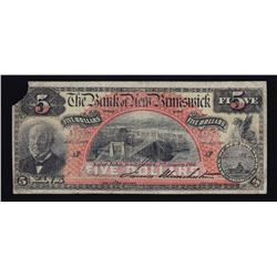 Bank of New Brunswick $5, 1904