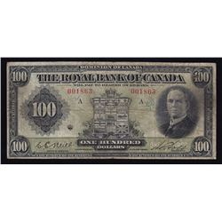 Royal Bank of Canada $100, 1927