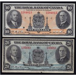 Royal Bank of Canada $10 & $20, 1935