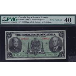 LOW SERIAL #2 - Royal Bank of Canada $5, 1943