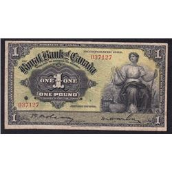 Royal Bank of Canada One Pound, Kingston Jamaica, 1938