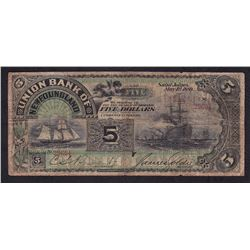 Union Bank of Newfoundland $5, 1889