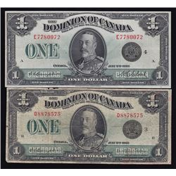Dominion of Canada $1, 1923 - Lot of 2