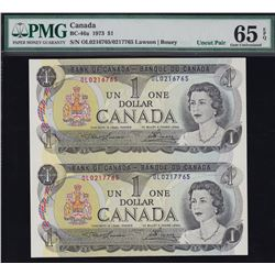 Bank of Canada $1, 1973 Rare Sheet of 2