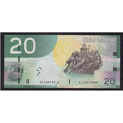 ERROR NOTE - Bank of Canada $20, 2004 Partial Digit Serial Number