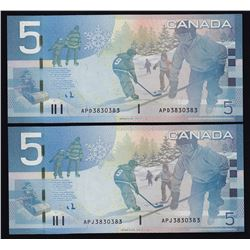 Matched Radar Set of Two Notes $5, 2006
