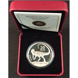 2014 - RCM $20.00 .9999 Fine Silver Scutellosaurus 'Dinosaur' Coin