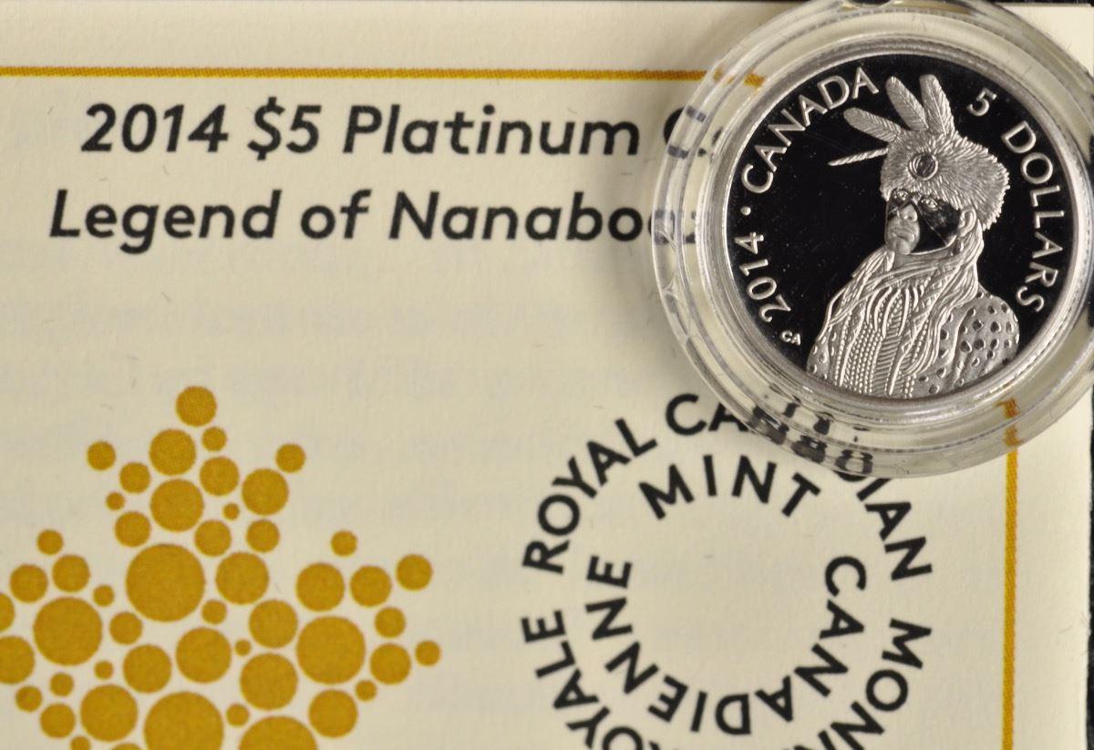 2014 Royal Canadian Mint $5 Pure Platinum Coin Nanaboozhoo